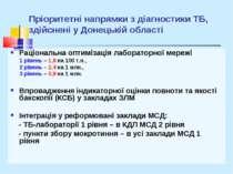 Пріоритетні напрямки з діагностики ТБ, здійснені у Донецькій області Раціонал...