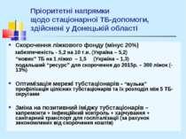 Пріоритетні напрямки щодо стаціонарної ТБ-допомоги, здійснені у Донецькій обл...