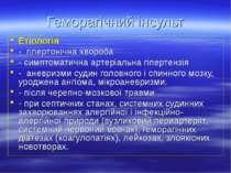 Геморагічний інсульт Етіологія - гіпертонічна хвороба - симптоматична артеріа...
