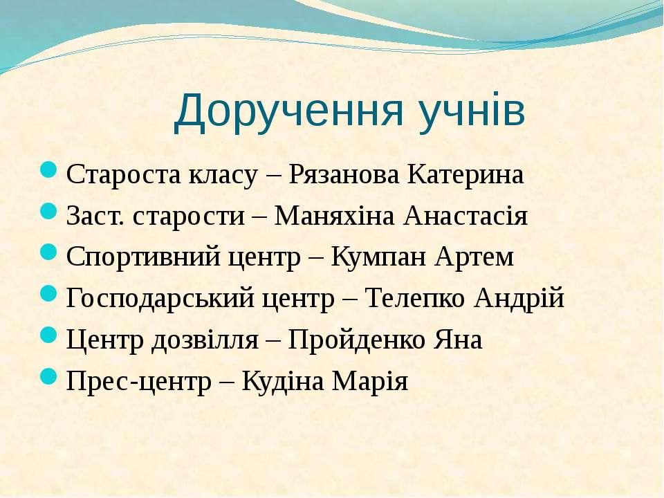 Доручення учнів Староста класу – Рязанова Катерина Заст. старости – Маняхіна ...