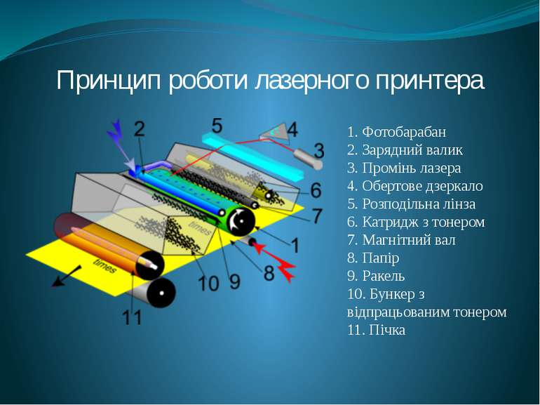 Принцип роботи лазерного принтера 1. Фотобарабан 2. Зарядний валик 3. Промінь...