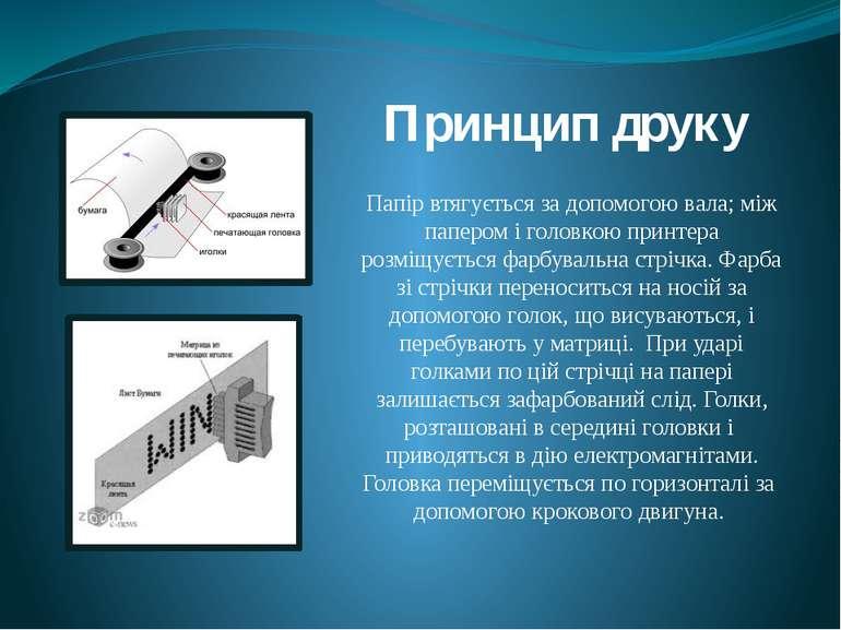 Папір втягується за допомогою вала; між папером і головкою принтера розміщуєт...