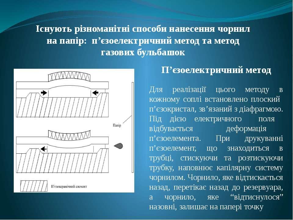 Існують різноманітні способи нанесення чорнил на папір: п'єзоелектричний мето...