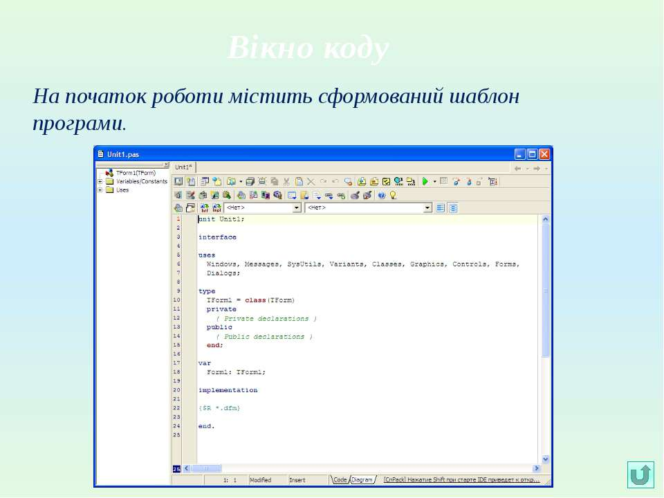 Вікно кодуНа початок роботи містить сформований шаблон програми.