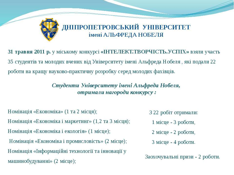 Номінація «Економіка» (1 та 2 місця); Номінація «Економіка і маркетинг» (1,...