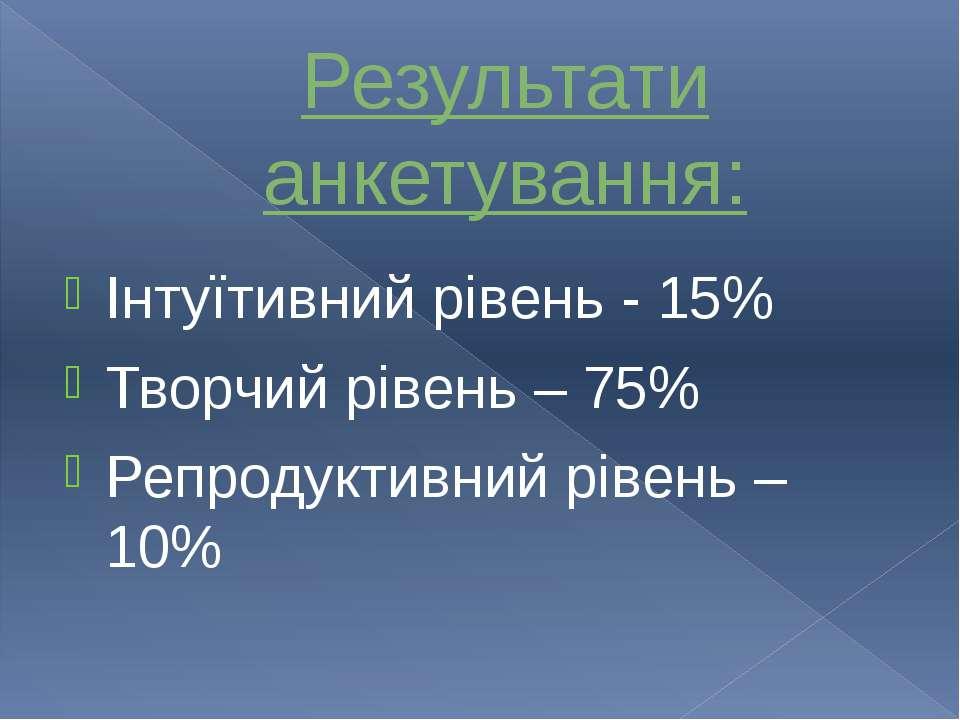 Інтуїтивний рівень - 15% Творчий рівень – 75% Репродуктивний рівень – 10% Рез...