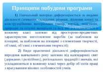 1) Навчальний матеріал диференціюється за видами діяльності (згинання, склада...
