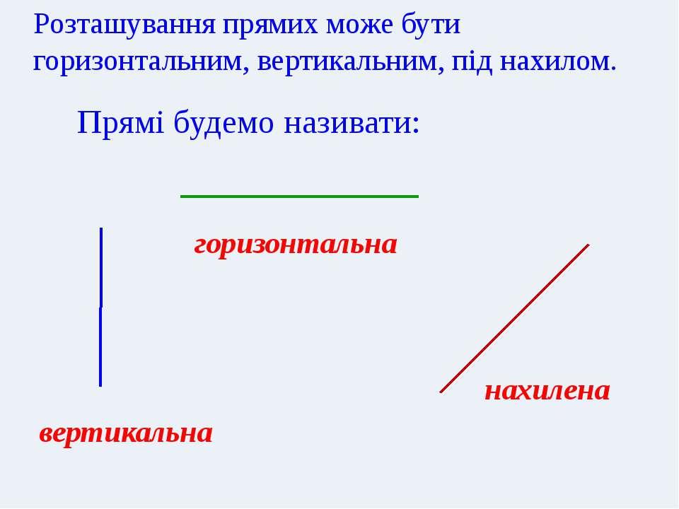 Додай до своєї прямої ще декілька прямих так, щоб у тебе були: вертикальна, г...