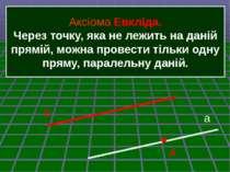 Аксіома Евкліда. Через точку, яка не лежить на даній прямій, можна провести т...