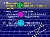 8. Якщо сума внутрішніх різносторонніх кутів 140º, то один із них 70º. 9. Якщ...