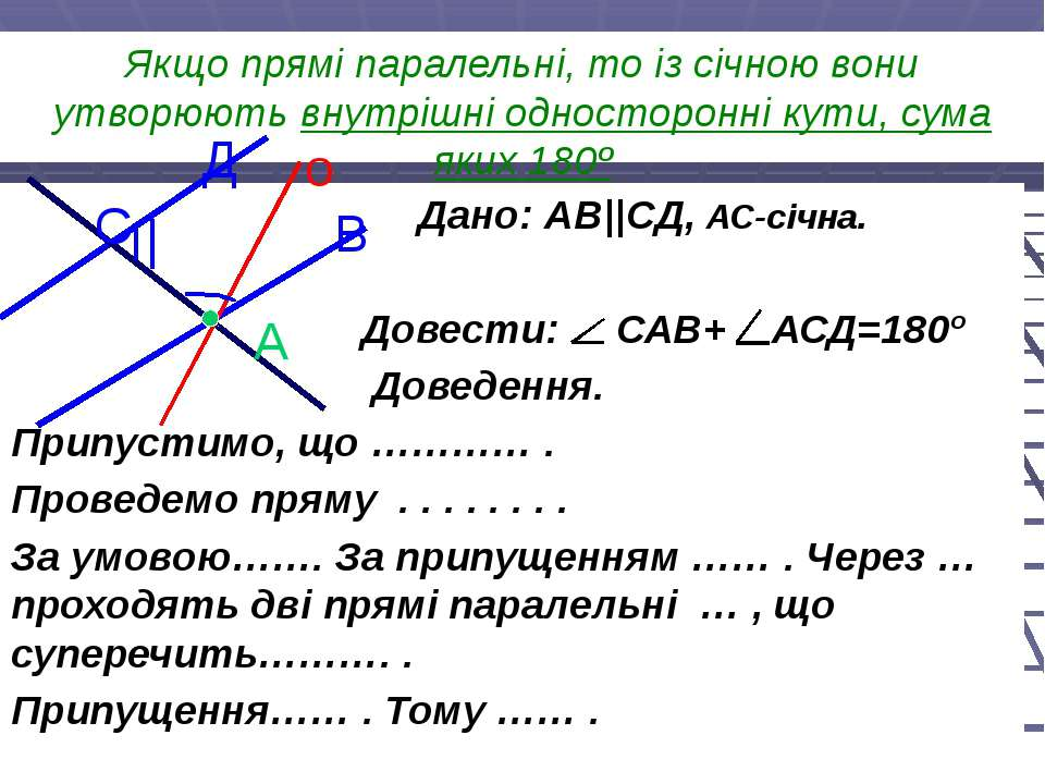 Якщо прямі паралельні, то із січною вони утворюють внутрішні односторонні кут...