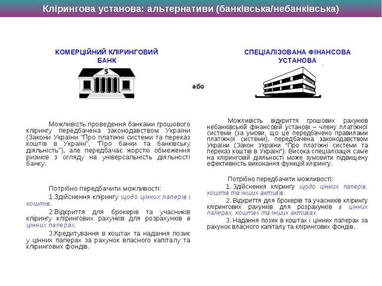 Можливість проведення банками грошового клірингу передбачена законодавством У...