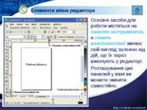 Елементи вікна редактора Основні засоби для роботи містяться на панелях інстр...