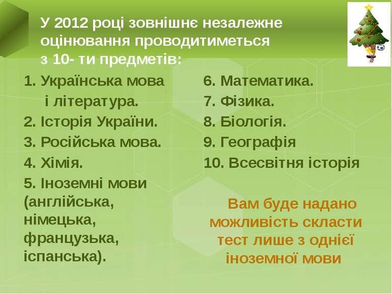 1. Українська мова і література. 2. Історія України. 3. Російська мова. 4. Хі...
