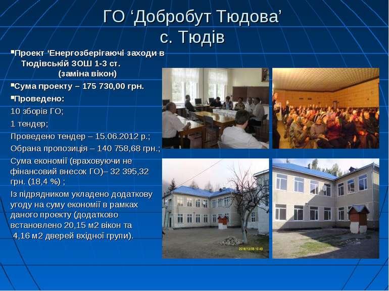 ГО 'Добробут Тюдова' с. Тюдів Проект 'Енергозберігаючі заходи в Тюдівській ЗО...