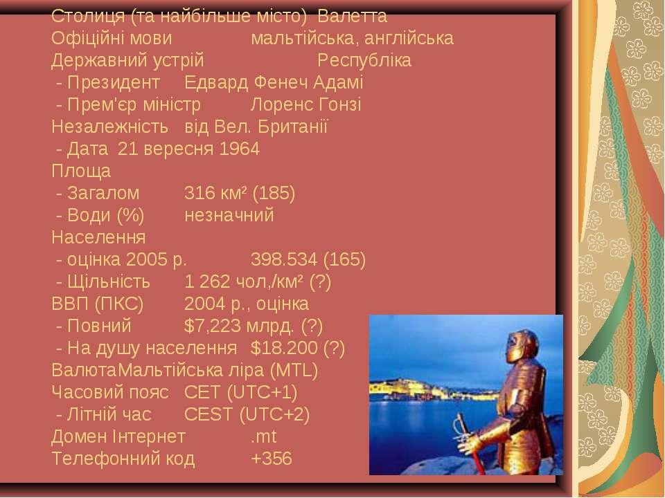 Столиця (та найбільше місто) Валетта Офіційні мови мальтійська, англійська Де...