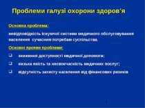 Проблеми галузі охорони здоров'я Основна проблема: невідповідність існуючої с...