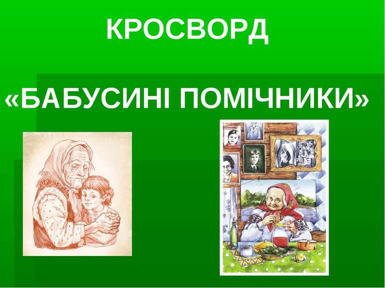 КРОСВОРД «БАБУСИНІ ПОМІЧНИКИ»