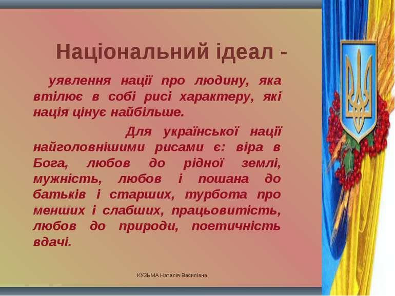 КУЗЬМА Наталія Василівна Національний ідеал - уявлення нації про людину, яка ...