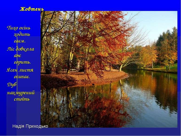 Тихо осінь ходить гаєм. Ліс довкола аж горить. Ясен листя осипає. Дуб нахмуре...