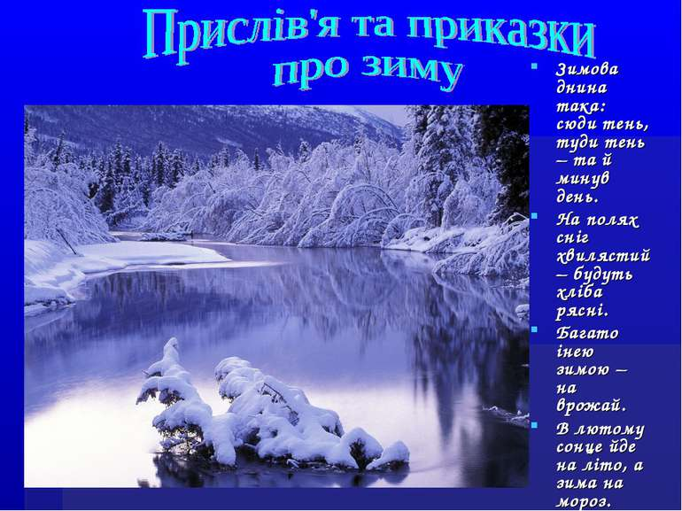 Зимова днина така: сюди тень, туди тень – та й минув день. На полях сніг хвил...