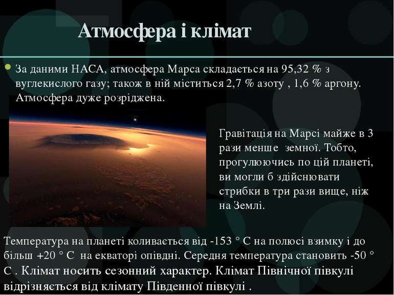Атмосфера і клімат За даними НАСА, атмосфера Марса складається на 95,32 % з в...