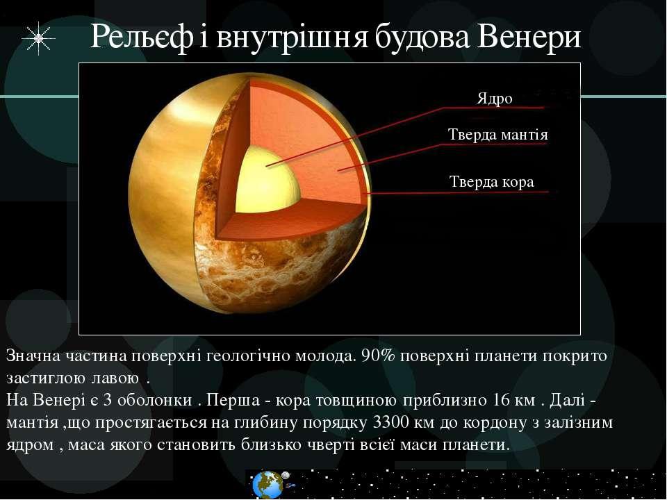 Рельєф і внутрішня будова Венери Тверда мантія Тверда кора Ядро Значна частин...