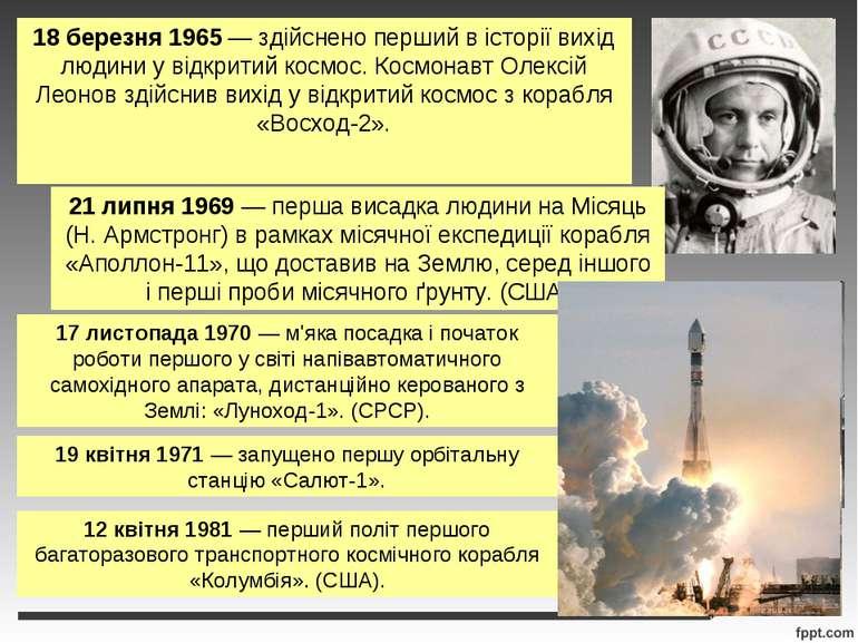 18 березня 1965 — здійснено перший в історії вихід людини у відкритий космос....