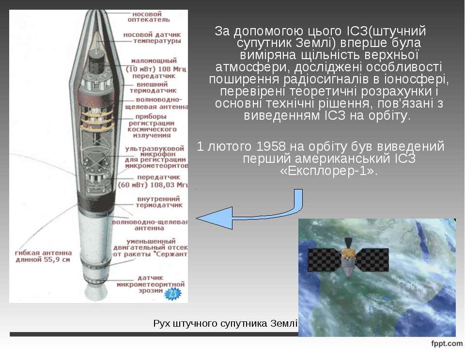 За допомогою цього ІСЗ(штучний супутник Землі) вперше була виміряна щільність...