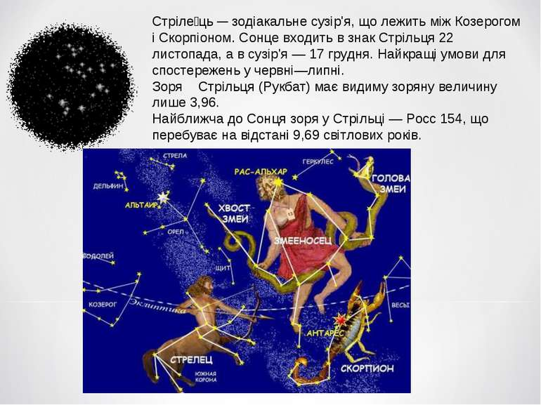 Стріле ць — зодіакальне сузір'я, що лежить між Козерогом і Скорпіоном. Сонце ...