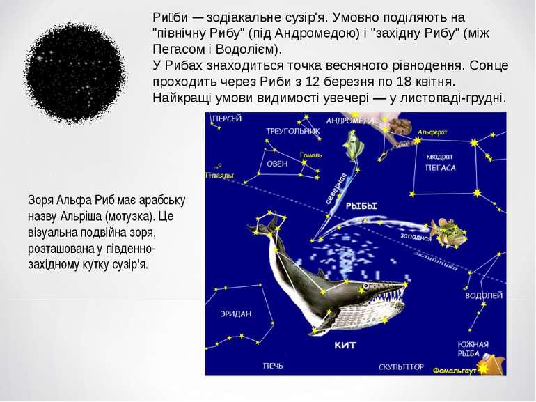 """Ри би — зодіакальне сузір'я. Умовно поділяють на """"північну Рибу"""" (під Андроме..."""