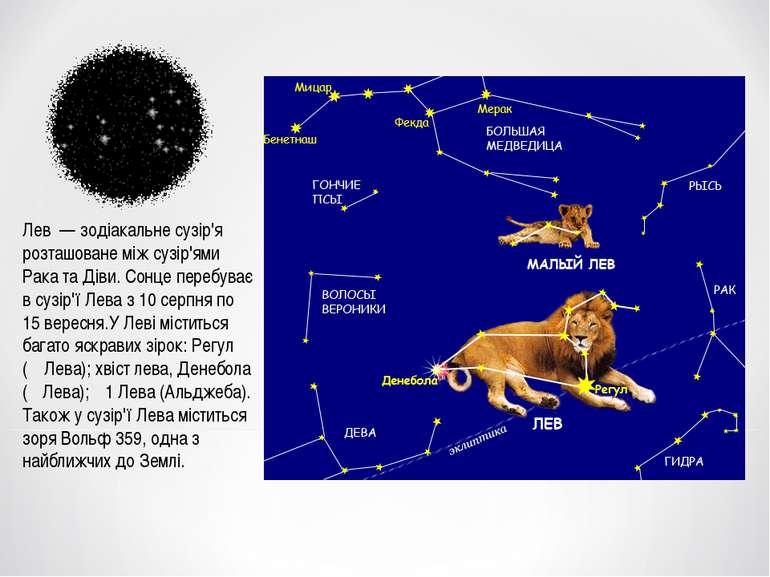 Лев — зодіакальне сузір'я розташоване між сузір'ями Рака та Діви. Сонце переб...