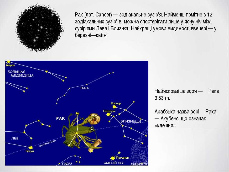 Рак (лат. Cancer) — зодіакальне сузір'я. Найменш помітне з 12 зодіакальних су...