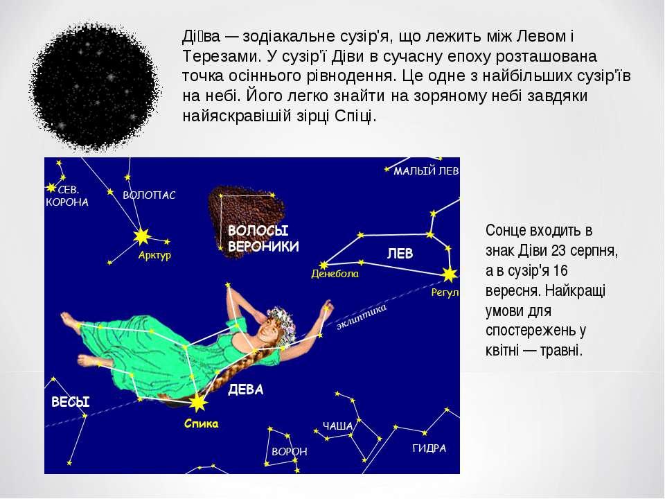 Ді ва — зодіакальне сузір'я, що лежить між Левом і Терезами. У сузір'ї Діви в...