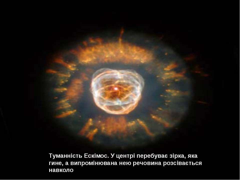 Туманність Ескімос. У центрі перебуває зірка, яка гине, а випромінювана нею р...