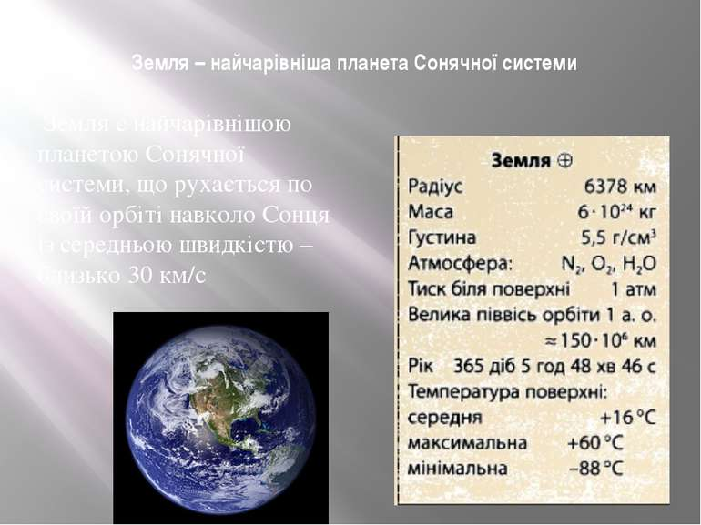 Земля – найчарівніша планета Сонячної системи Земля є найчарівнішою планетою ...
