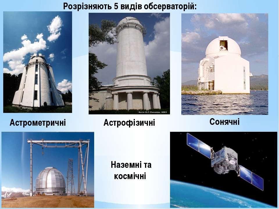 Розрізняють 5 видів обсерваторій: Астрометричні Астрофізичні Сонячні Наземні ...