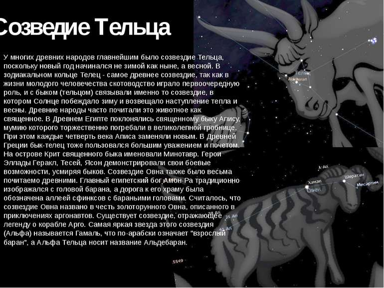 Созведие Тільця У багатьох стародавніх народів найголовнішим було сузір'я Тел...
