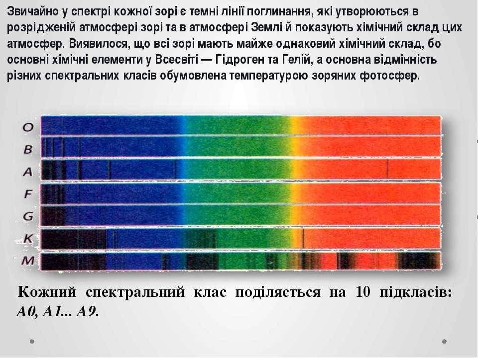 Звичайно у спектрі кожної зорі є темні лінії поглинання, які утворюються в ро...