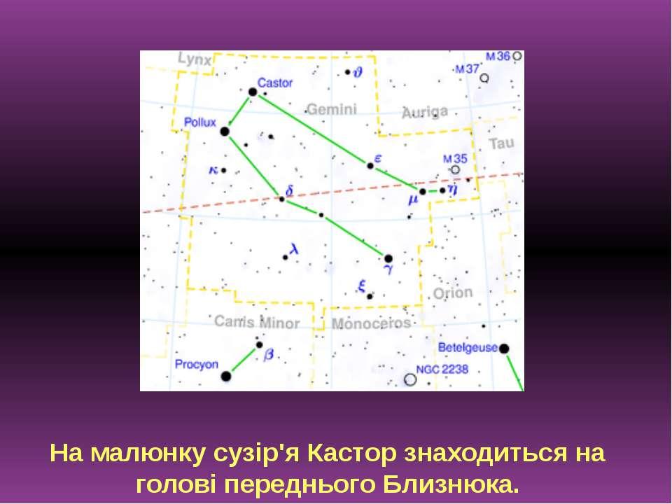 На малюнку сузір'я Кастор знаходиться на голові переднього Близнюка.