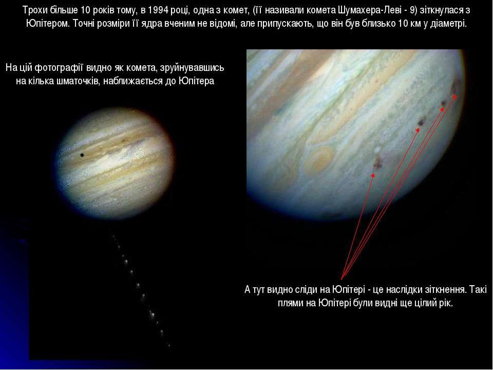 Трохи більше 10 років тому, в 1994 році, одна з комет, (її називали комета Шу...