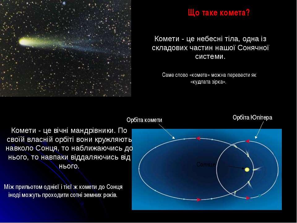 Що таке комета? Між прильотом однієї і тієї ж комети до Сонця іноді можуть пр...