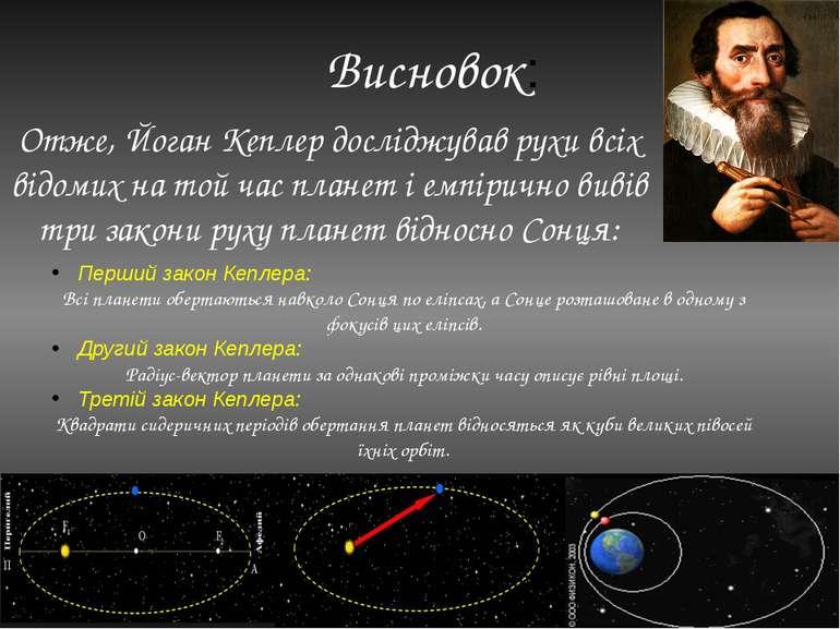Висновок: Отже, Йоган Кеплер досліджував рухи всіх відомих на той час планет ...