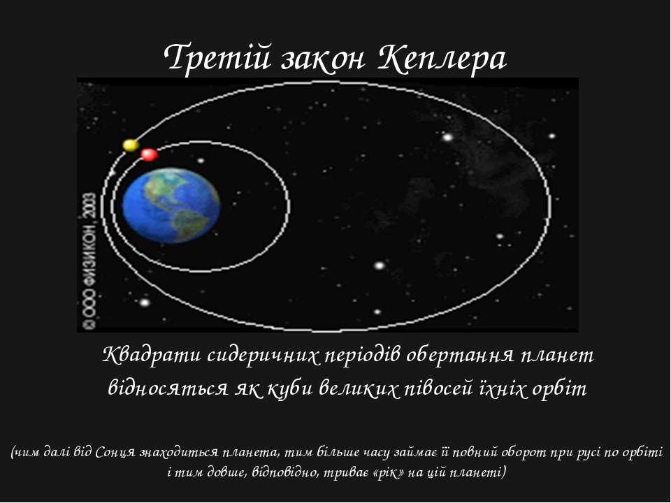 Третій закон Кеплера Квадрати сидеричних періодів обертання планет відносятьс...