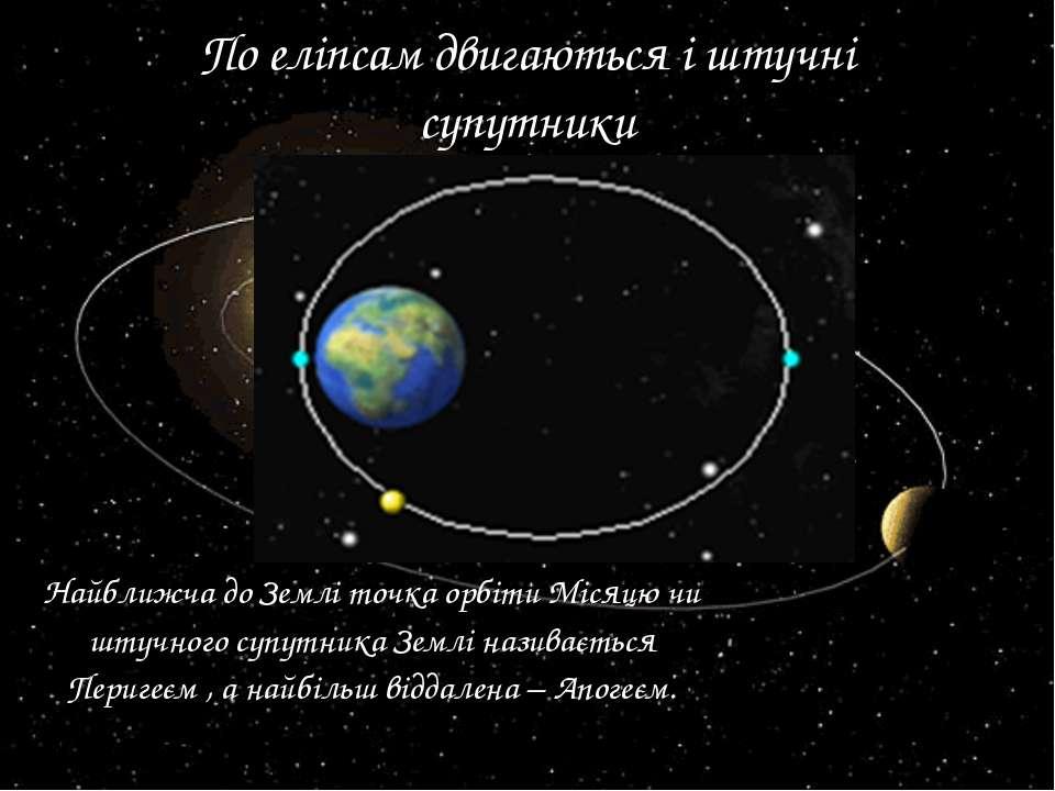 По еліпсам двигаються і штучні супутники Найближча до Землі точка орбіти Міся...
