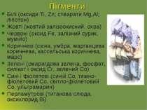 Пігменти Білі (оксиди Ti, Zn; стеарати Mg,Al; ліпотон) Жовті (жовтий залізоок...