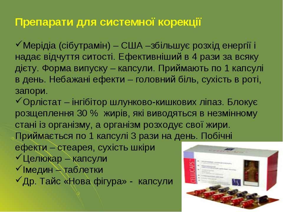 Препарати для системної корекції Мерідіа (сібутрамін) – США –збільшує розхід ...