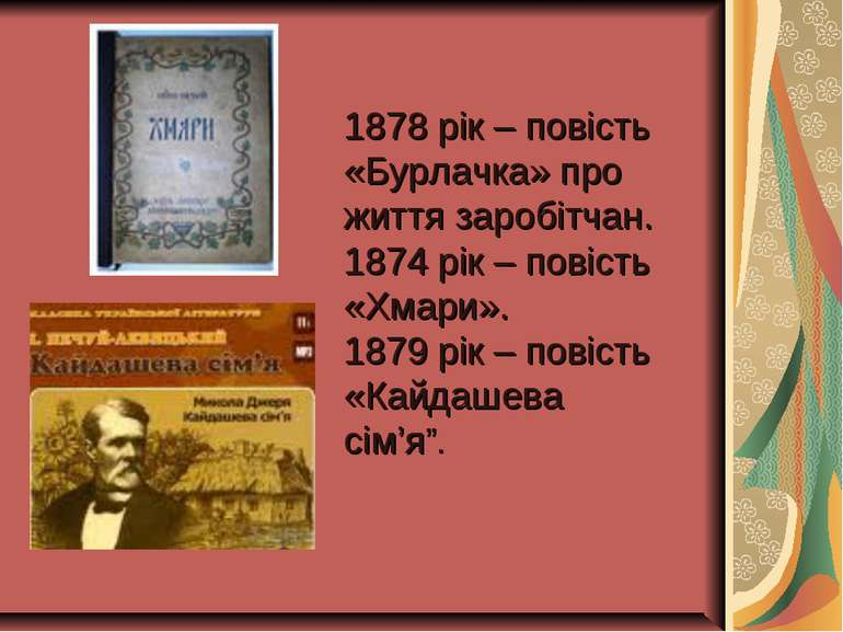 1878 рік – повість «Бурлачка» про життя заробітчан. 1874 рік – повість «Хмари...