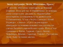 Знову еміграція: Чехія, Німеччина, Прага. У лютому 1925 року переїздить до Фр...