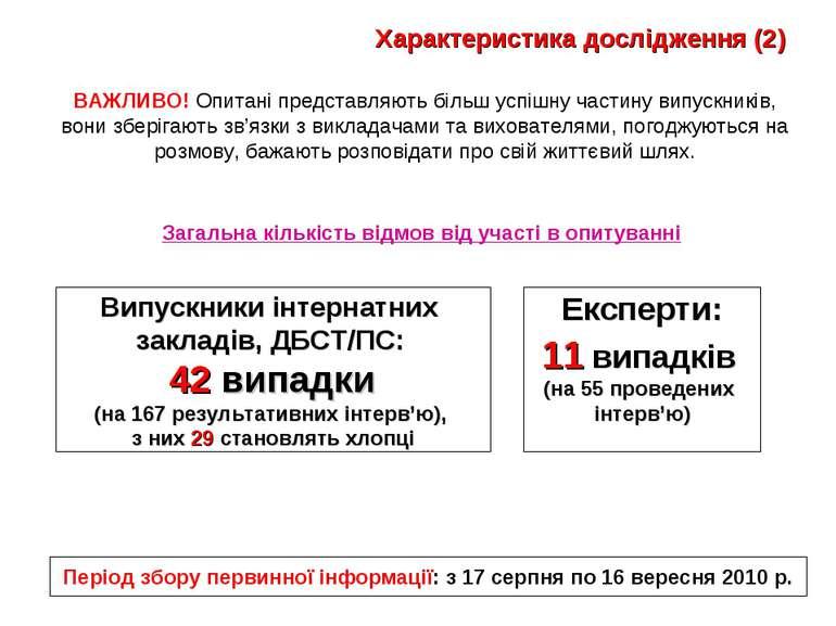 Характеристика дослідження (2) Випускники інтернатних закладів, ДБСТ/ПС: 42 в...